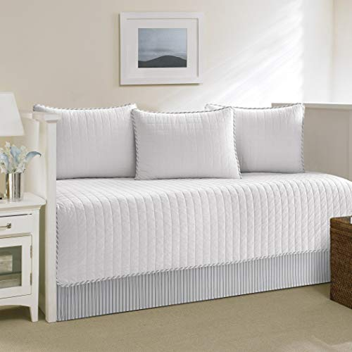- 5 Piece White Beach Theme Daybed Set Bedding, Nautical Coastal Tropical Stripe Lake House Sold Solid Color Pattern Day Bed Bedskirt Pillows, Polyester