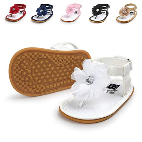 Lafegen Infant Baby Girls Sandals Summer Sandals Flower T-Strap Anti-Slip Rubber Sole Newborn First Walkers Shoes(11cm,0-6months,A-White