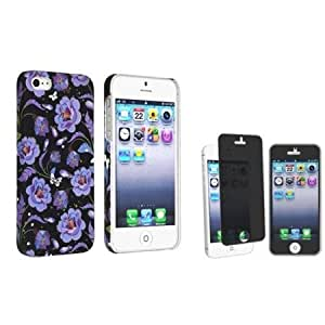 Cerhinu eForCity Black Purple Flower Rear Style 42 Rubber Coated Case with FREE Privacy Screen Cover compatible with Apple...
