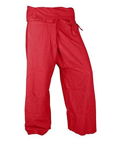 Beautiful Fresh Red Pants Rayon Fabric Yoga Trousers Thai Fisherman Pants Free Size - Trap Goddess Costume