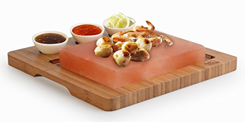 Artestia Himalayan Salt Slab with Stainless Steel Tray, Bamboo Platter and Ceramic Side Sauce Bowls, Deluxe Tabletop Barbecue / BBQ / Hibachi / Steak Grill