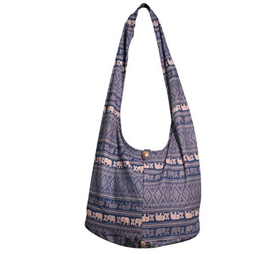 Elephant Hippie Hobo bags Crossbody Bags Top Zip Shoulder bag Messenger bags Purse (Dark Blue)
