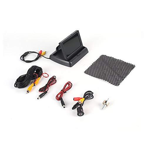 Telecamera tonda per riprese posteriori Telecamera Wateproof Sistema di parcheggio per parcheggio grandangolare Kit di retromarcia per auto con display pieghevole