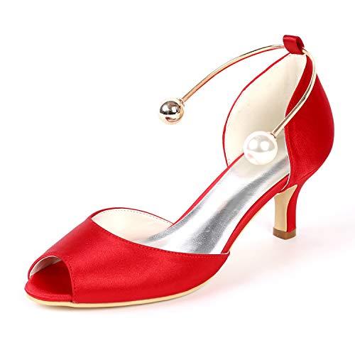 Donna Damigella 6 Sposa Tacchi Cm Alti Scarpe Peep Raso yc L Fibbia Red Toe tacco 43 Di Sera Tacco Da 35 qwxUXg5