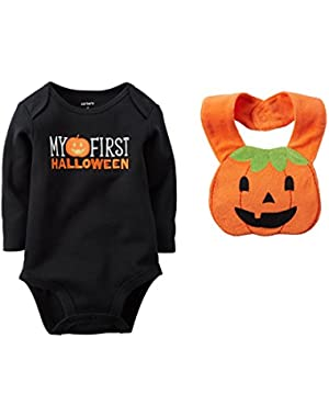 Unisex Baby Boys' Girls' First Halloween Bodysuit With Pumpkin Bib, 3 Months