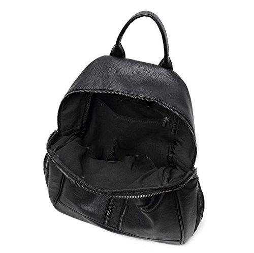Damas De Moda Casual De Las Mujeres De Color Sólido Bolso De Cuero Impermeable Mochila De Viaje Black