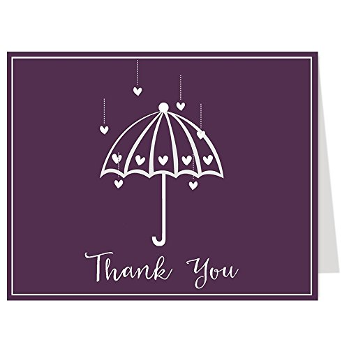 Thank You Cards, Bridal Shower, Purple, Plum, Wedding, Hearts, Bride, 50 Printed Notes with Envelopes, Shower Her With Love (Plum) (Printed Invites Flat)
