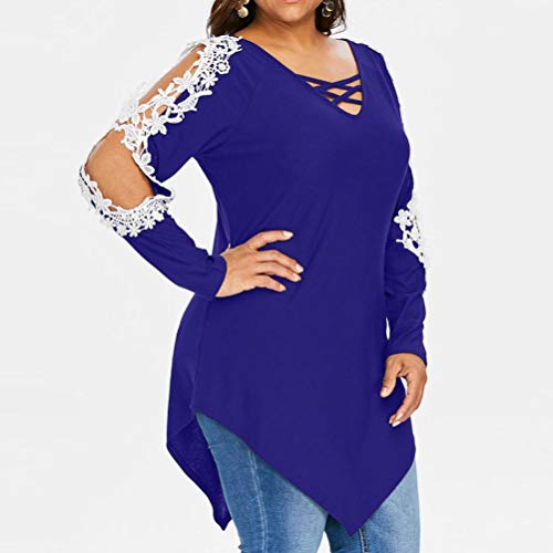Rambling Criss Cross Sexy Women Off Shoulder Lace Top Long Sleeve Blouse Ladies Casual Tops Shirt Plus Size by Rambling (Image #2)