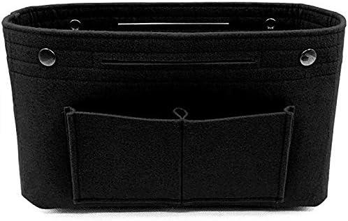 Wasab: フェルト布インナーバッグ レディース ファッション マルチポケット 収納バッグ ハンドバッグ コスメティック オーガナイザー 荷物バッグ 旅行オーガナイザー ブラック Ws01