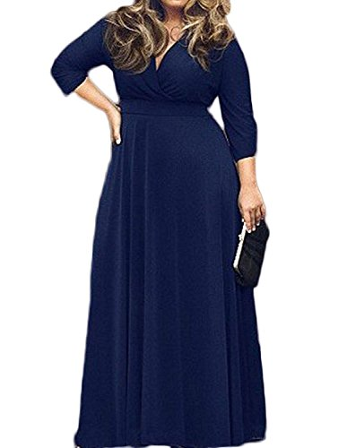 AM CLOTHES 3/4 Sleeve Plus Size Maxi Dress For Women X-Large Navy
