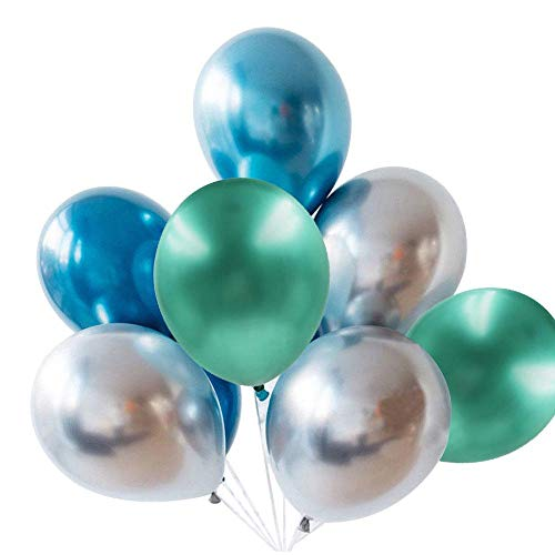 (Aolvo Chrome Balloons (Green Sliver Blue) 9 Pcs, 12 inch Thickening Metallic Latex Round Shiny Balloons Work with Birthday Wedding Grad Theme Party Decorations (3.2 G/Pcs) 2018 Hot)