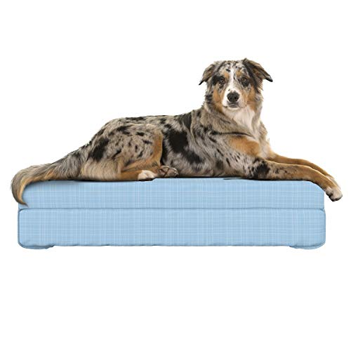 (Lunarable Abstract Dog Bed, Traditional Pastel Toned Checkered Pattern with Straight Horizontal Lines UK Print, Dog Pillow with High Resilience Visco Foam for Pets, 32