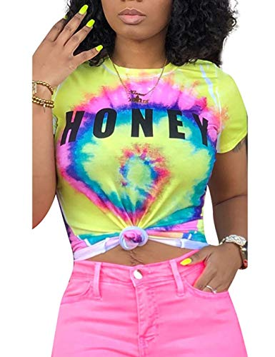 Tie Dye Shirt Short Sleeve Graphic Funny Tees for Women Teen Girl Plue Size, Yellow XX-Large