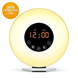 Wake Up Light, Digital Sunrise Alarm Clock-[2018 Upgraded] with Multi-Colorful Night Light, 6 Nature Sounds, FM Radio, Sunrise and Sunset Simulation Perfect Suit for Bedside-Gift Set