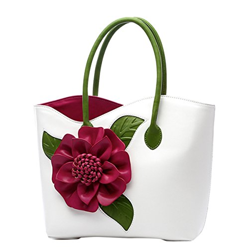 ABage Women's PU Leather Purse Vintage 3D Flower Tote Top Handle Crossbody Handbag, White