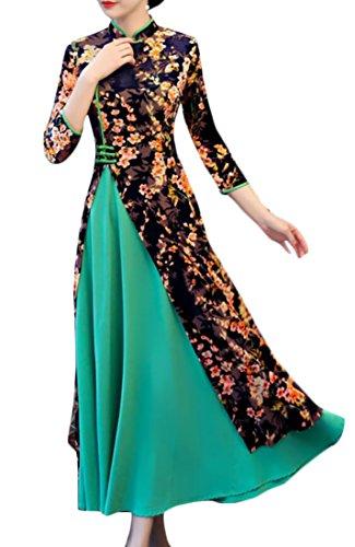 Femmes Alion Élégant Manches 3/4 Imprimé Style Chinois Qipao Cheongsam Robe Midi 8