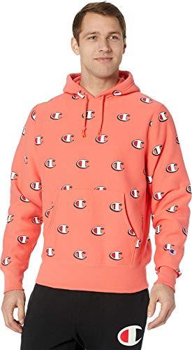 (Champion LIFE Men's Reverse Weave Pullover Hood-Print, Scribble Logo Groovy Papaya,)