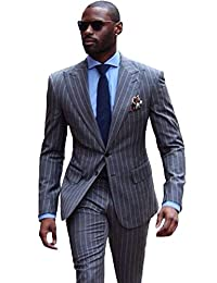 Mens Classics Stripe 3 Piece Suits Two Button Single Breasted Tuxedo Business Casual