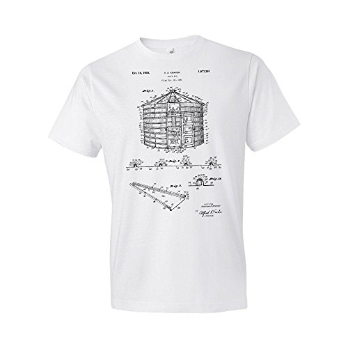 Grain Storage Bin T-Shirt, Grain Bin, Grain Bin T-Shirt, Farming T-Shirt, Grain Bin Patent, Farm Gift, Farmer Gift White (Medium) - Print Medium Storage Bin