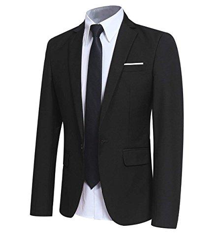 Men' Slim Fit One Button Blazer Jacket Casual/Party Sport Coat Black
