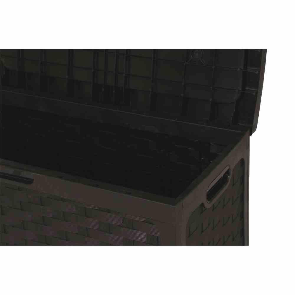 Kissenbox Geflechtoptik schwarz Vollkunststoff, Sitzdeckel