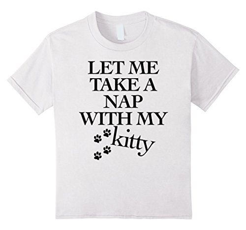 Kids Nap With My Kitty Funny Humor Cat Paws Love To Sleep T-Shirt 8 White - White Kitty Paws