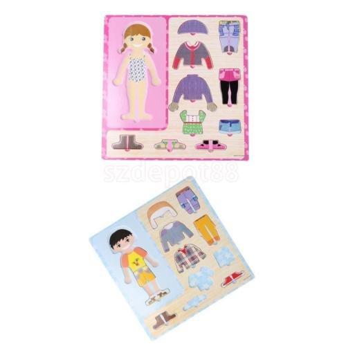 FidgetKute 2 Sets Pre-School Dress-up Boy Girl Change Clothes Wooden Peg Jigsaw Puzzles