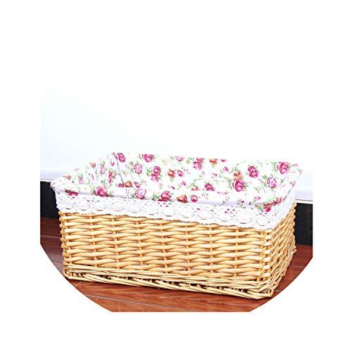 New Bamboo Weaving Storage Basket Fruit Picnic Basket Rattan Storage Box for Cosmetics Snacks Tea Book Organizer Handiwork,02,B(30X20X12 cm)]()