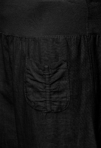 Caspar KHS006- Pantalones de lino para mujer negro
