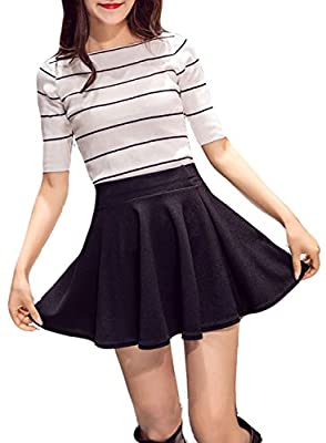Nokolulu Women Solid A Line Pleated Flared Skater Skirt With Leggings