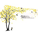 lovely space wall mural 3D Wall Decals Tree Birds Wall Stickers Wall Murals Acrylic DIY Tv Setting Wall Sofa Backdrop For Home decor Wall decor-79inch tall(Large 3.5x2.0, Yellow)