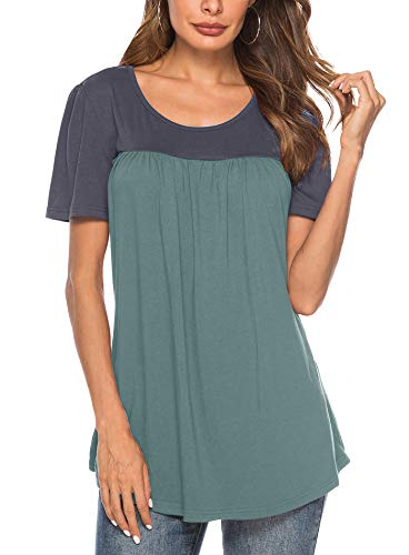 Yidarton Women's Scoop Neck Pleated Blouse Solid Color Tunic Tops ()