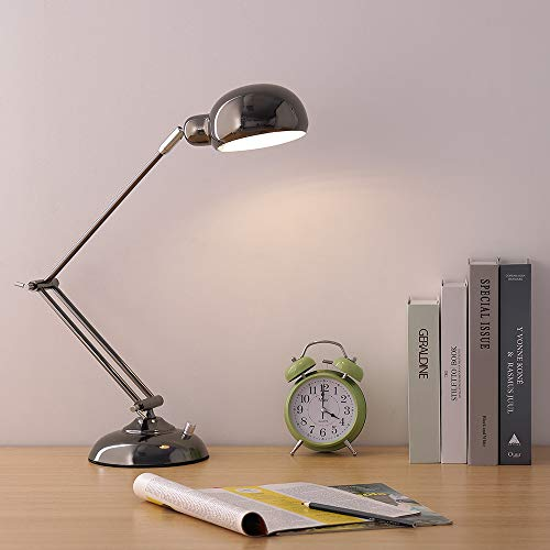 HAITRAL Swing Arm Desk Lamp - Modern Task Lamp with Flexible Rotatable Head Adjustable Long Arm - Flexible Industrial Table Lamps with for Office Studio College Dorm - Bright Black (B009)