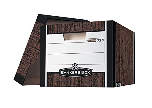 Grain Specialty End (Bankers Box R-Kive Heavy Duty File Storage Box, 12 X 10 X 15 in, 850 lb, Woodgrain, Pack of 12)