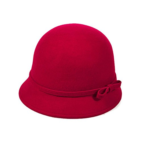 Vbiger Fashion New Women Vintage Fedora Cloche Cap Felt Bowler Hat (Red) - Felt Floppy Hat