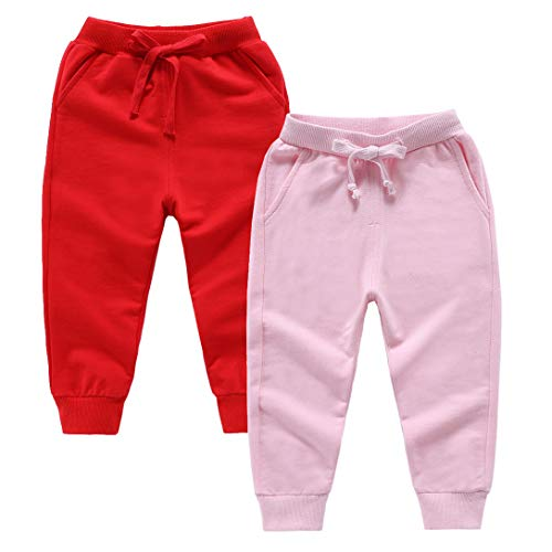 ALALIMINI Girls Toddler Sweatpants Cotton Sports Jogger Kids Pajama Pants 2T 3T 4T 5 6 (Red&Pink, 110cm/4)