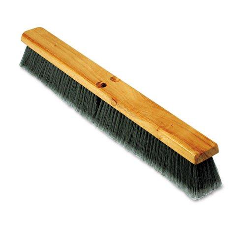 Proline Brush Gray Flagged Polypropylene Floor Push Broom Brush Head, Hardwood Block, 24