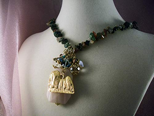 - LHASA APSO -nkja11-THEMED NECKLACE-FREE SHIPPING- GEMSTONE CHARM NECKLACE - HOBBY HORSE LADY JEWELRY- Jewelry for Dog Lovers