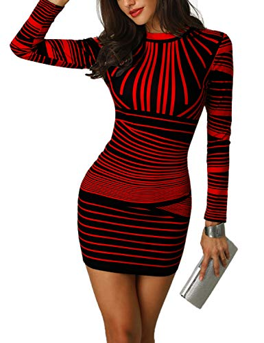 CHICME BEST SHOPPING DEALS Women Gradient Color Striped Bodycon Dress