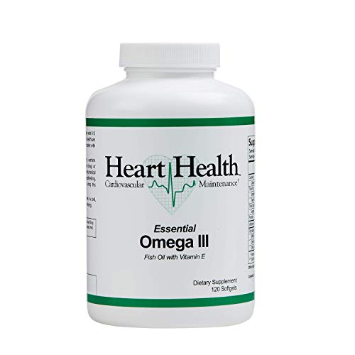 Heart Health Essential Omega III Fish Oil with Vitamin E, Helps Maintain Normal Cholesterol Levels, Healthy Blood Pressure, Supports Joint Health, Market America (120 Soft Gels)