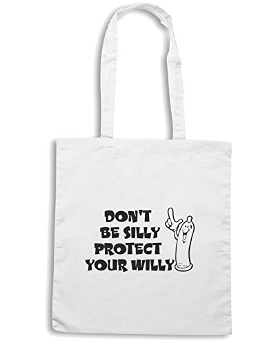 T-Shirtshock - Bolsa para la compra FUN1251 dont be silly protect your willy adhesive vinyl decal 72842 Blanco