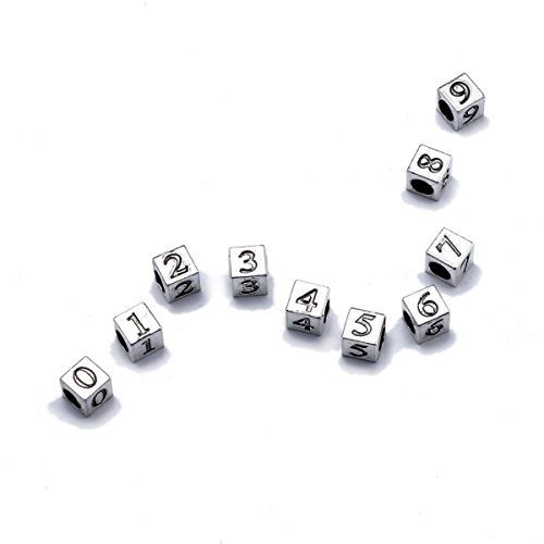 FUNLAVIE Number Beads, Number 0-9 Vintage Silver Cube with Numbers-10 Pcs