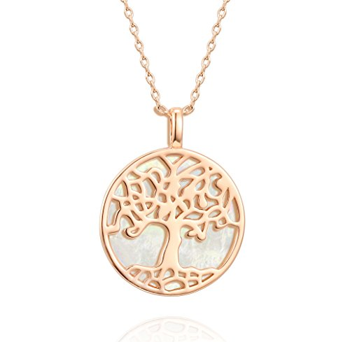 PAVOI 14K Rose Gold Plated Tree of Life Pendant Shell Pearl Necklace Pendant 18
