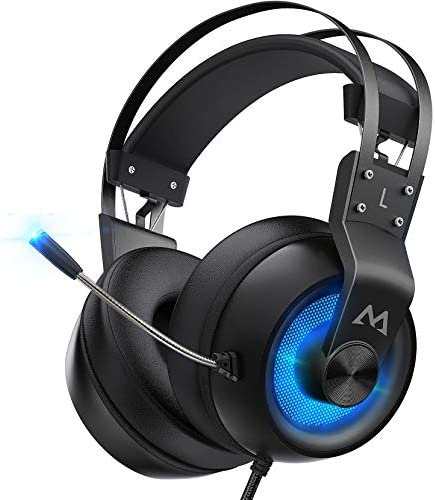 Mpow EG3 professional Gaming Headset with 3-d Surround Sound, PS4 Xbox One Headset with Noise Cancelling Mic, Gaming Chat Headset, Over-Ear Gaming Headphones for PC, Xbox 1, PS4, Nintendo Switch