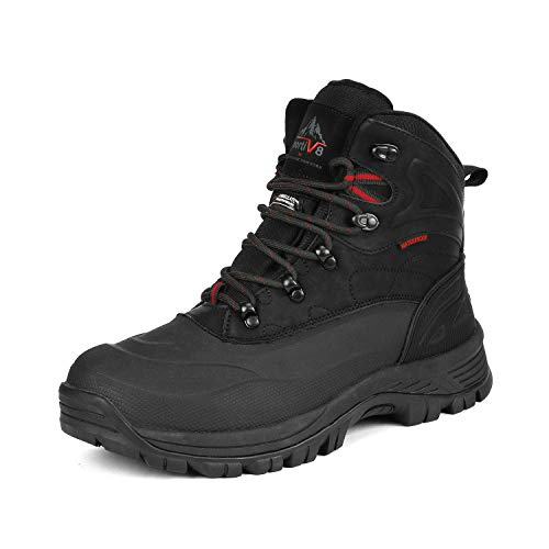 NORTIV 8 Men's A0014 Black Insulated Waterproof Construction Hiking Winter Snow Boots Size 9.5 M US