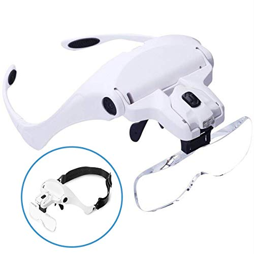 ANDSTON Head Mount Magnifying Glass with 2 Led Professional Jewelry Loupe Light Bracket and Headband are - Loupe Headband