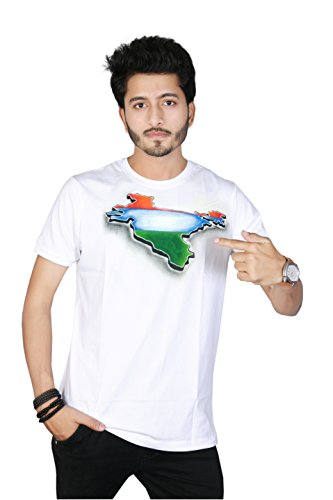 Sketch Lion Hand Painted Independence Day/Republic Day Special Indian Map Round Neck T-Shirt- for Men (S)