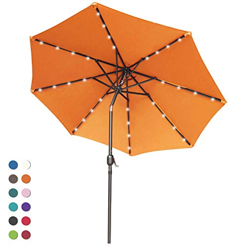 ABCCANOPY Solar Umbrellas Patio Umbrella 9 FT LED Umbrellas 32LED Lights with Tilt and Crank Outdoor Umbrella Table Umbrellas for Garden, Deck, Backyard, Pool and Beach,12+Colors, (Orange)