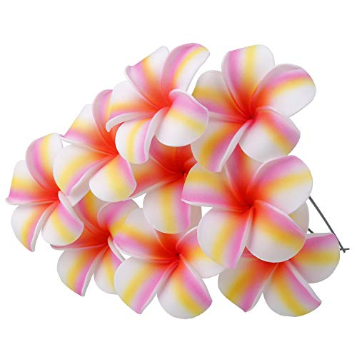 YOUBAMI Hawaiian Plumeria Foam Flowers with Stems Great for Various Festival Luau Party Favor Event Wedding Home Decoration DIY Bouquets by Yourself Set of 18 Pcs (Pink+Yellow+White)
