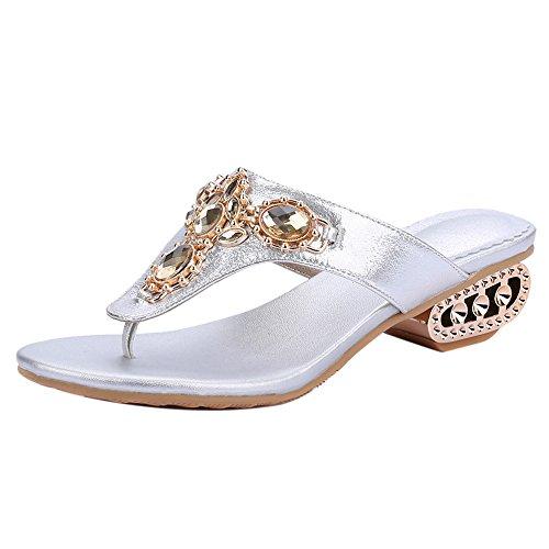 Mules Clip Damenmode Coolcept Silber Sandalen Toe SASFPqwI